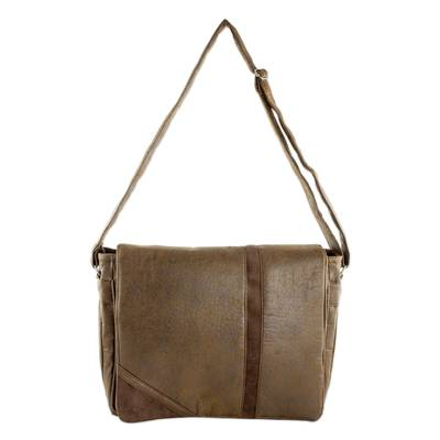 Faux Leather Messenger Bag in Coffee from Costa Rica