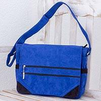 Faux suede messenger bag, 'Traveling the World' - Faux Suede Messenger Bag in Sapphire from Costa Rica