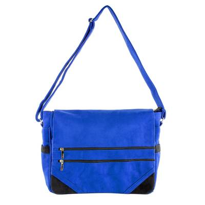 Faux Suede Messenger Bag in Sapphire from Costa Rica