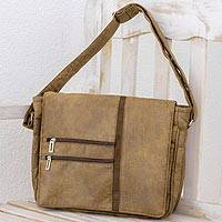 Faux leather messenger bag, 'Voyage to Foreign Lands' - Faux Leather Messenger Bag in Sepia from Costa Rica