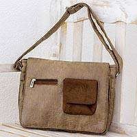 Faux leather messenger bag, 'Preparedness in Burnt Sienna' - Faux Leather Messenger Bag in Burnt Sienna from Costa Rica