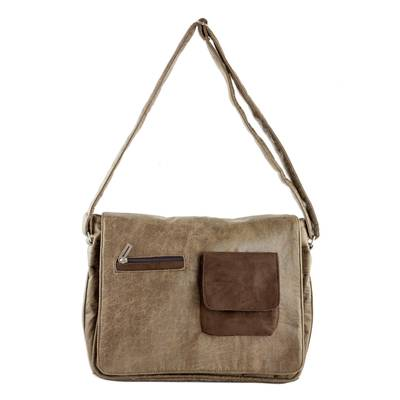 Faux Leather Messenger Bag in Burnt Sienna from Costa Rica