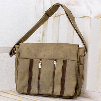 Faux leather messenger bag, 'Elegant Combination' - Handcrafted Brown Faux Leather Messenger Bag from Costa Rica
