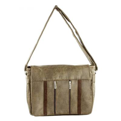 Handcrafted Brown Faux Leather Messenger Bag from Costa Rica