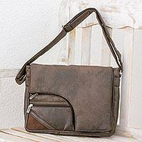 Faux leather messenger bag, 'Espresso Elegance' - Faux Leather Messenger Bag in Espresso from Costa Rica