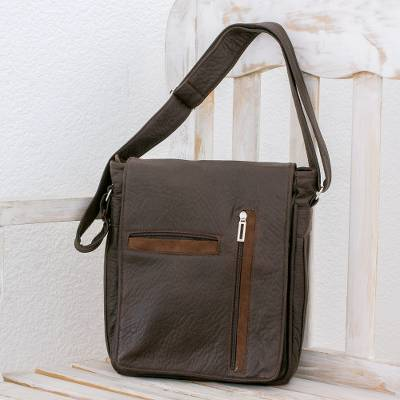 Faux leather messenger bag, Practical Elegance