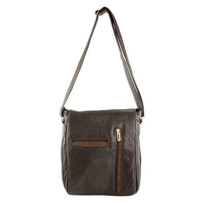 Espresso-Colored Faux Leather Messenger Bag from Costa Rica