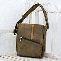 Faux leather messenger bag, 'Voyage to Costa Rica' - Faux Leather Messenger Bag in Spice from Costa Rica