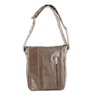 Faux Leather Messenger Bag in Mahogany from Costa Rica