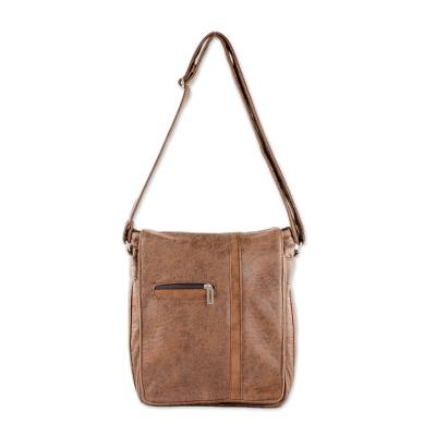 Faux Leather Messenger Bag in Chestnut from Costa Rica