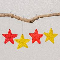 Recycled paper ornaments, 'Tropical Star' (set of 4) - Eco-Friendly Recycled Paper Star Ornaments (set of 4)