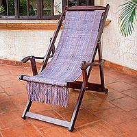 Recycled cotton blend hammock chair, 'Oceanside' - Adjustable Frame Purple Recycled Cotton Blend Hammock Chair
