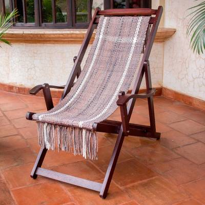 Recycled cotton blend hammock chair, 'Seaside' - Adjustable Frame Beige Recycled Cotton Blend Hammock Chair
