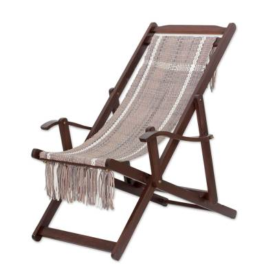 Adjustable Frame Beige Recycled Cotton Blend Hammock Chair