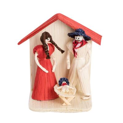 Handcrafted Natural Fiber Folk Nativity Scene