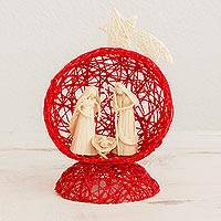 Natural fiber nativity scene, 'Star Nativity in Red' - Red Handcrafted Natural Fiber Nativity Scene with Star