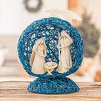 Natural fiber nativity scene, 'Star Nativity in Blue' - Blue Handcrafted Natural Fiber Nativity Scene with Star