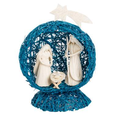 Blue Handcrafted Natural Fiber Nativity Scene with Star