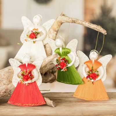 Natural fiber ornaments, 'Angels with Bouquets' (set of 4) - Handcrafted Natural Fiber Angel Holiday Ornaments (Set of 4)