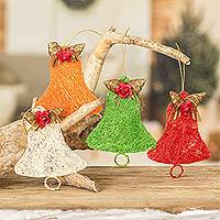 Natural fiber ornaments, 'Joyous Bells' (set of 4) - Handcrafted Natural Fiber Bell Holiday Ornaments (Set of 4)