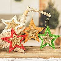 Natural fiber holiday ornaments, 'Textured Stars' (set of 4) - Handcrafted Natural Fiber Star Holiday Ornaments (Set of 4)