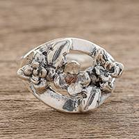 Sterling silver cocktail ring, 'Lemon Tree Flowers' - Sterling Silver Flowers Cocktail Ring with Cubic Zirconia