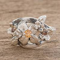 Sterling silver cocktail ring, 'Twinkling Bouquet' - Sterling Silver Flowers Cocktail Ring with Cubic Zirconia