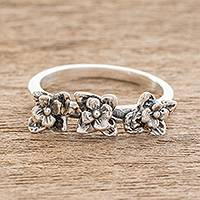 Sterling silver cocktail ring, 'Garden Trio' - Sterling Silver Row of Flowers with Oxidation Cocktail Ring