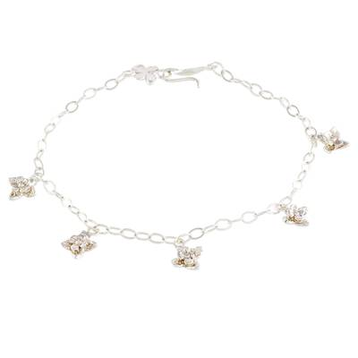 Floral Sterling Silver Charm Bracelet from Costa Rica