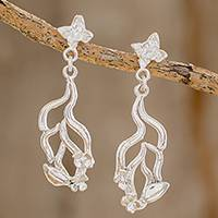 Sterling silver dangle earrings, 'Flowering Autumn' - Floral Sterling Silver Dangle Earrings from Costa Rica