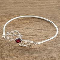 Sterling silver pendant bracelet, 'Floral Autumn in Red' - Floral Sterling Silver Pendant Bracelet in Red