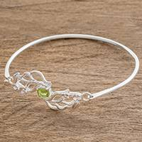 Sterling silver pendant bracelet, 'Floral Autumn in Green' - Floral Sterling Silver Pendant Bracelet in Green