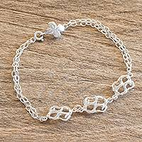 Sterling silver pendant bracelet, 'Branches of Luck' - Branch Motif Sterling Silver Link Pendant Bracelet