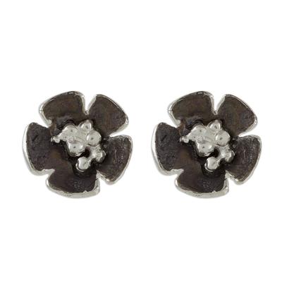 Handcrafted Sterling Silver Flower Stud Earrings
