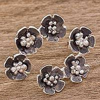 Sterling silver drop earrings, 'Floret Trio' - Handcrafted Sterling Silver Flower Trio Drop Earrings