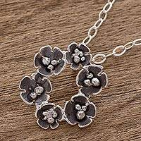 Sterling silver pendant necklace, 'Floret Wreath' - Handcrafted Sterling Silver Flower Wreath Pendant Necklace