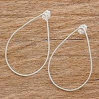 Sterling silver drop earrings, 'Hollow Tears' - Handcrafted Open Teardrop Sterling Silver Drop Earrings