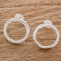Sterling silver drop earrings, 'Love Nest' - Handcrafted Sterling Silver Circle Wreath Drop Earrings