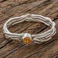 Citrine solitaire ring, 'Love Nest' - Handcrafted Sterling Silver Citrine Solitaire Ring