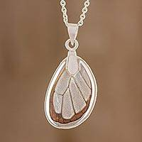 Butterfly wing pendant necklace, 'Glasswing Beauty' - Natural Glasswing Butterfly Pendant Necklace from Costa Rica