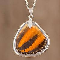Butterfly wing pendant necklace, 'Orange Tiger' - Orange Tiger Butterfly Wing Pendant Necklace from Costa Rica