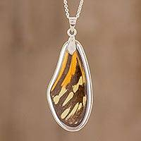 Butterfly wing pendant necklace, 'Isabella's Upper Wing' - Isabella's Longwing Butterfly Necklace from Costa Rica