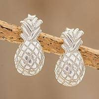 Sterling silver button earrings, 'Sweet Pineapple' - Handcrafted Sterling Silver Pineapple Button Earrings