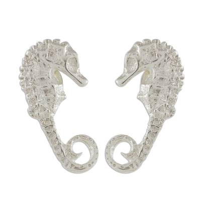 Handcrafted Sterling Silver Seahorse Button Earrings