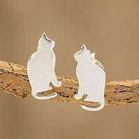 Sterling silver button earrings, 'Favorite Feline' - Handcrafted Sterling Silver Seated Cat Button Earrings