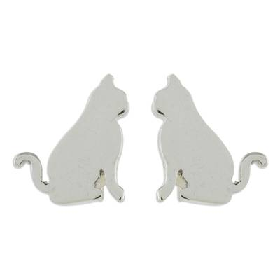 Handcrafted Sterling Silver Attentive Cat Button Earrings