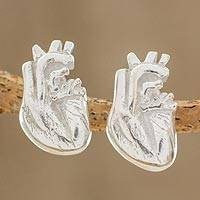Sterling silver button earrings, 'True Heart' - Handcrafted Sterling Silver Anatomical Heart Button Earrings