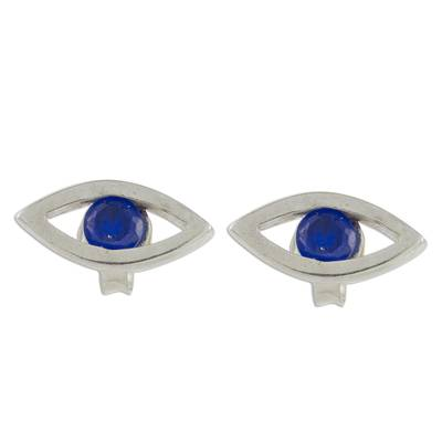 Handcrafted Sterling Silver Blue Eyed Button Earrings