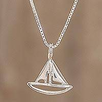 Sterling silver pendant necklace, 'Full Sail' - Handcrafted Sterling Silver Sailboat Pendant Necklace