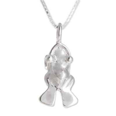 Handcrafted Sterling Silver Frog Pendant Necklace
